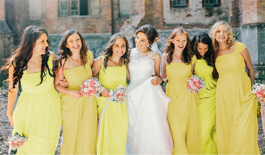 Wedding Yellow Bridesmaid Dresses