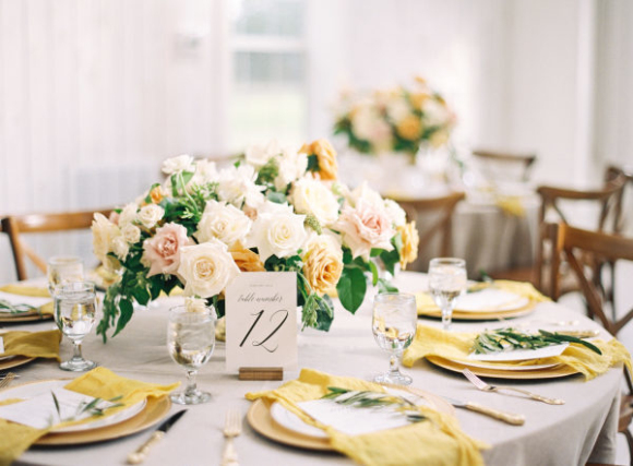 babaroni yellow bridesmaid dresses tables