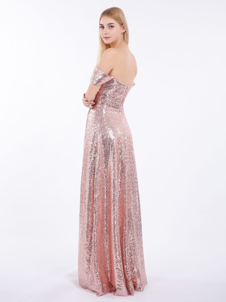 Long Sequins Dress with Off the Shoulder