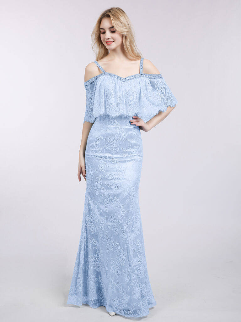 Beautiful Off Shoulder Spaghetti Strap Mermaid Lace Gown