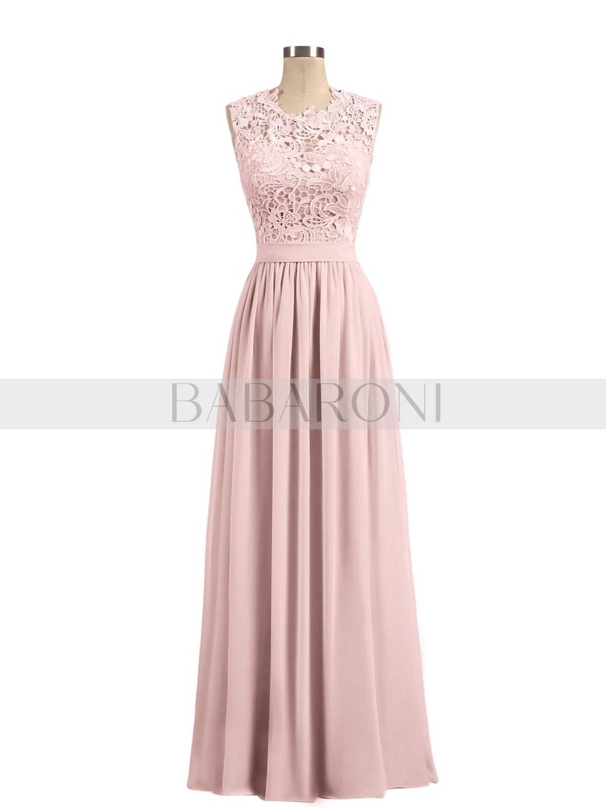 01f5dcaac92 Dusty Rose Aletta Illusion Neck Chiffon and Lace Dresses