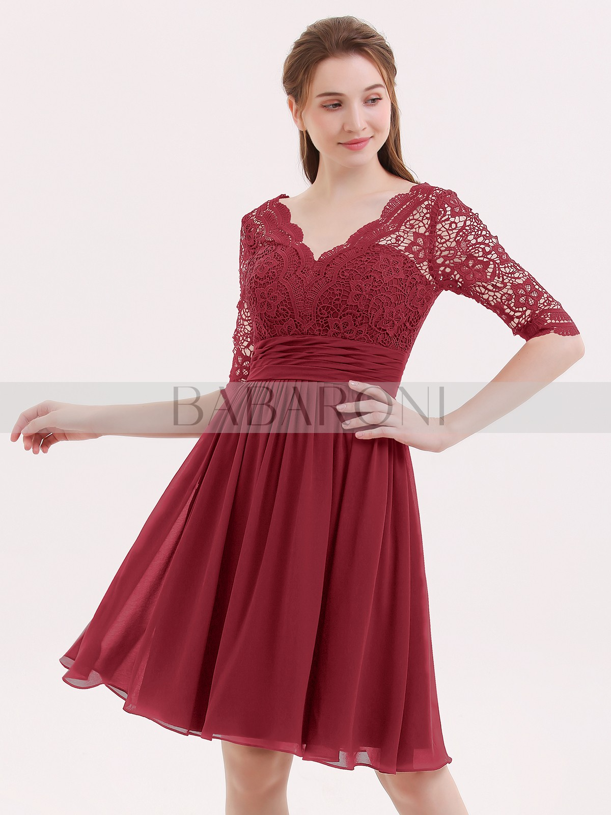 3be16a38b757 ... Short Prom Dresses; Babaroni Alexia. A-line Chiffon Burgundy Zipper Lace,  Ruched, Pleated Knee-length V-. Loading zoom