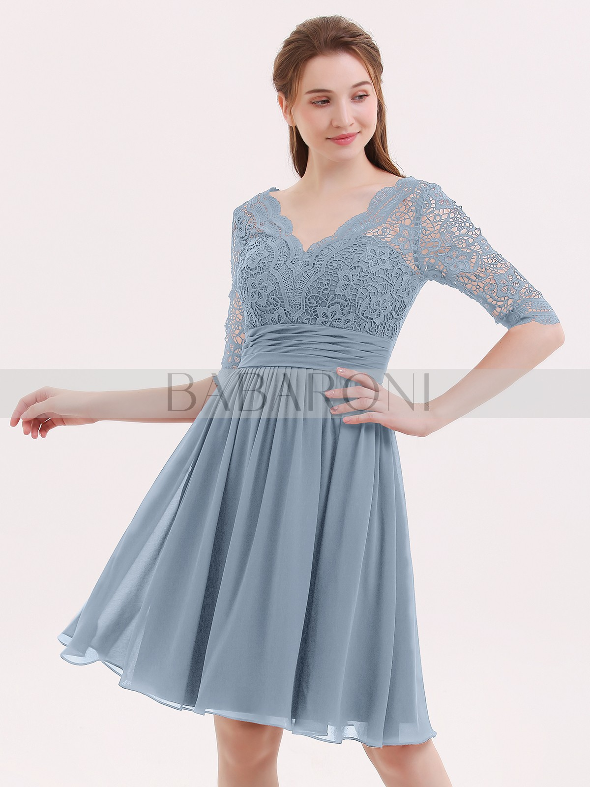 4d7b2aec357 Dusty Blue Alexia Lace And Chiffon Short Dress With Half Sleeves