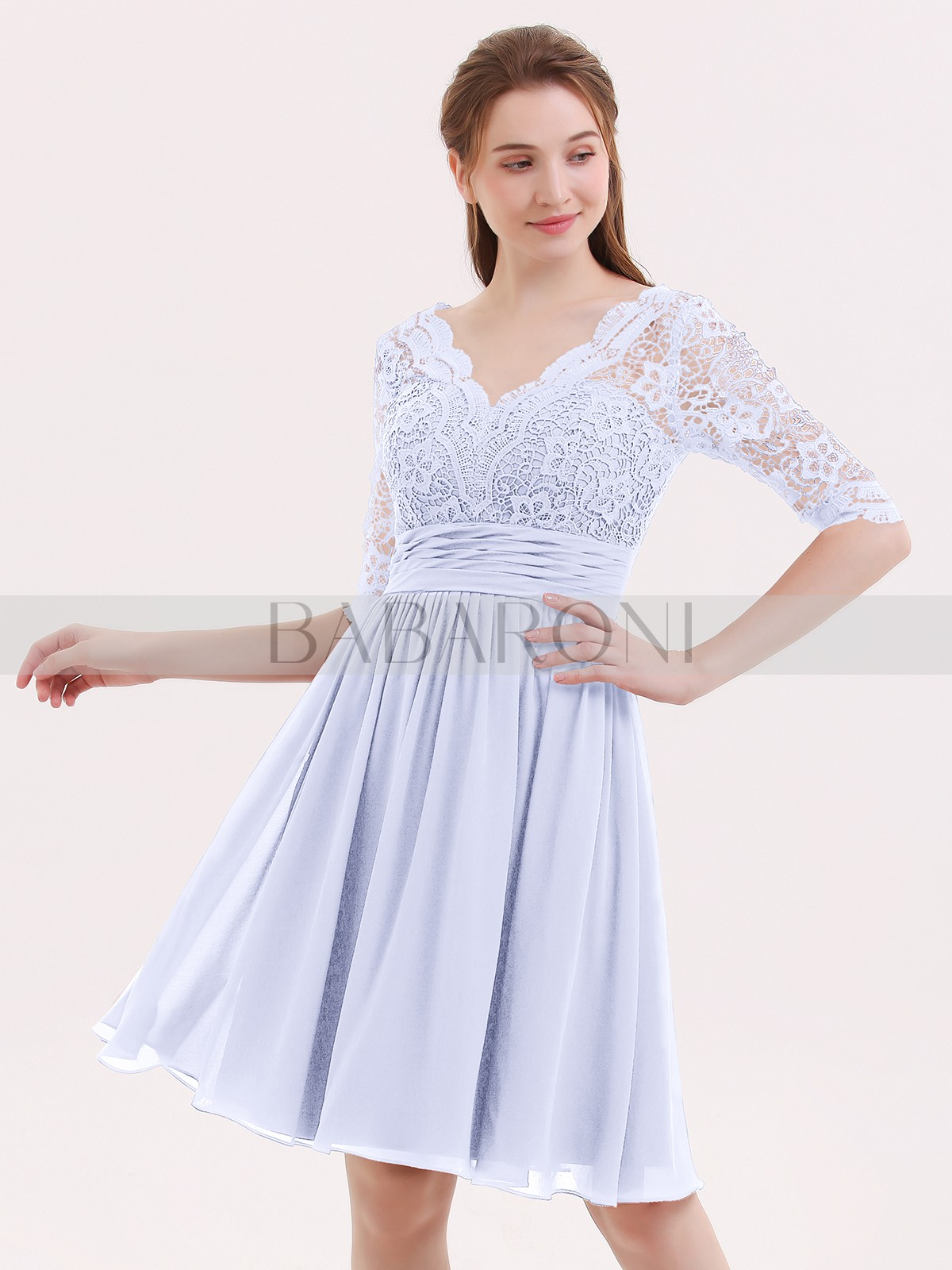 290acb6ee1fc Lavender Alexia Lace and Chiffon Short Dress with Half Sleeves ...