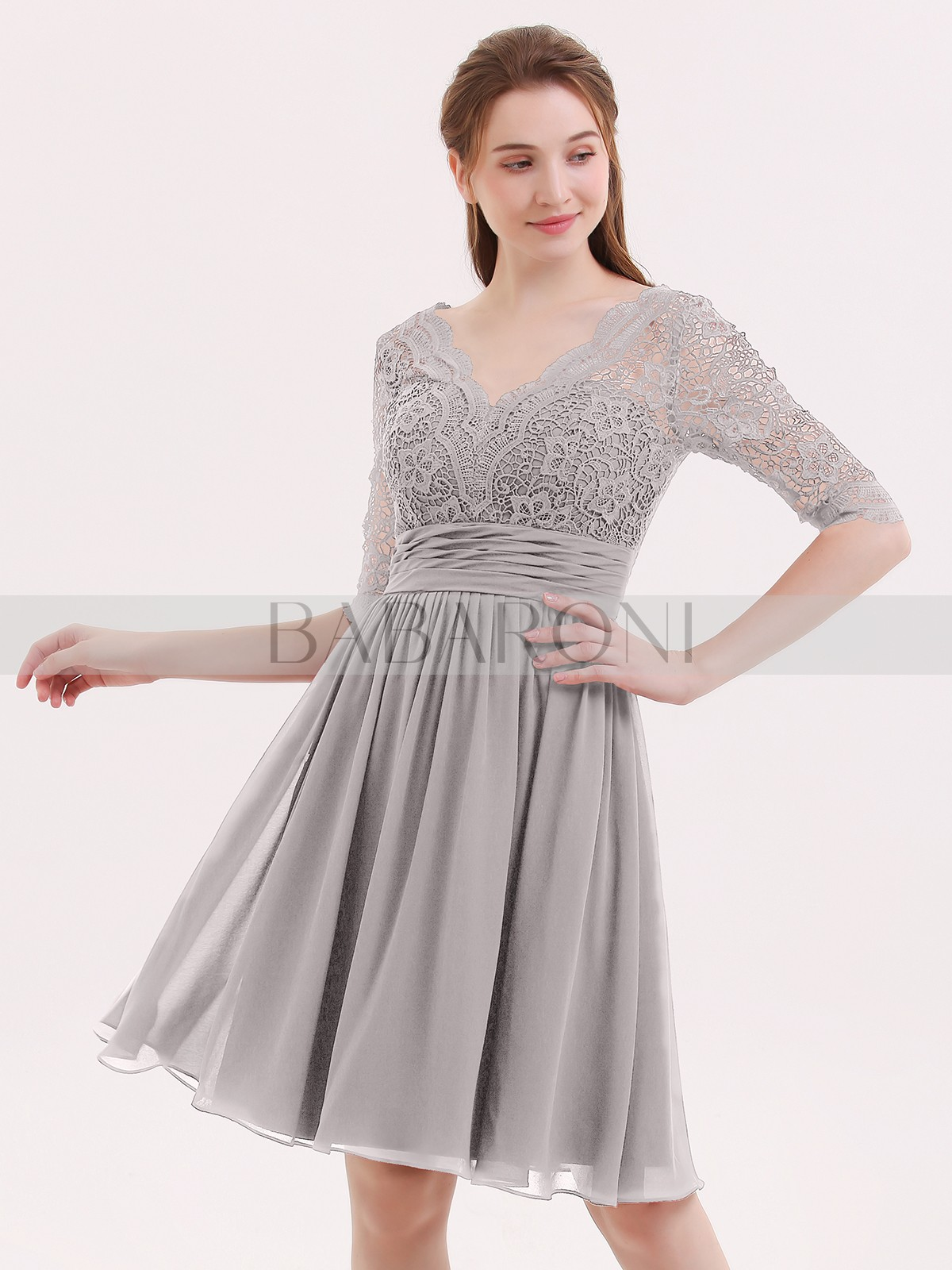 4a899428a Silver Alexia Lace and Chiffon Short Dress with Half Sleeves