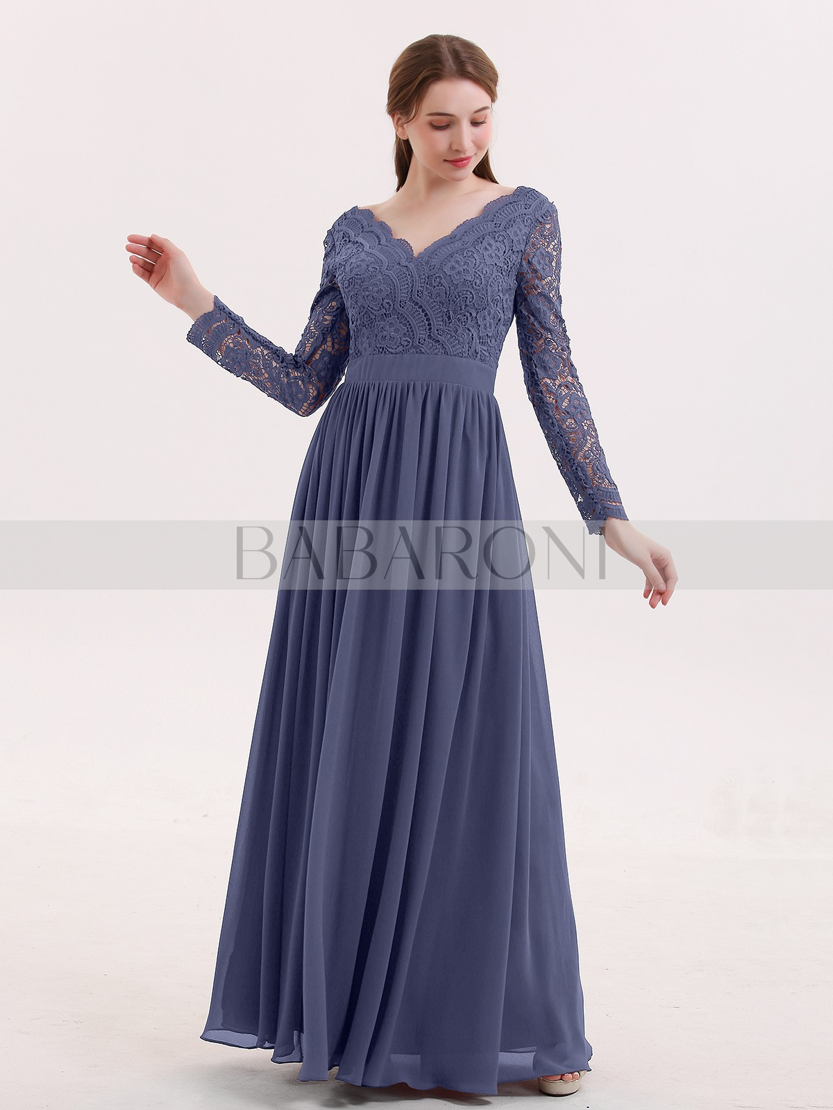 127f6a2e047 Stormy Alina V Neck Lace and Chiffon Dress with Long Sleeves