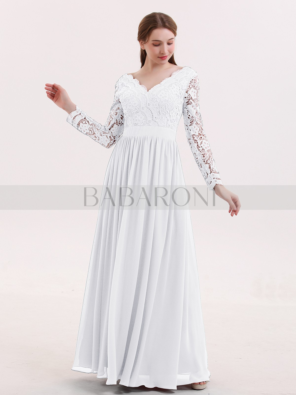 90fc1acd40d White Alina V Neck Lace and Chiffon Dress with Long Sleeves