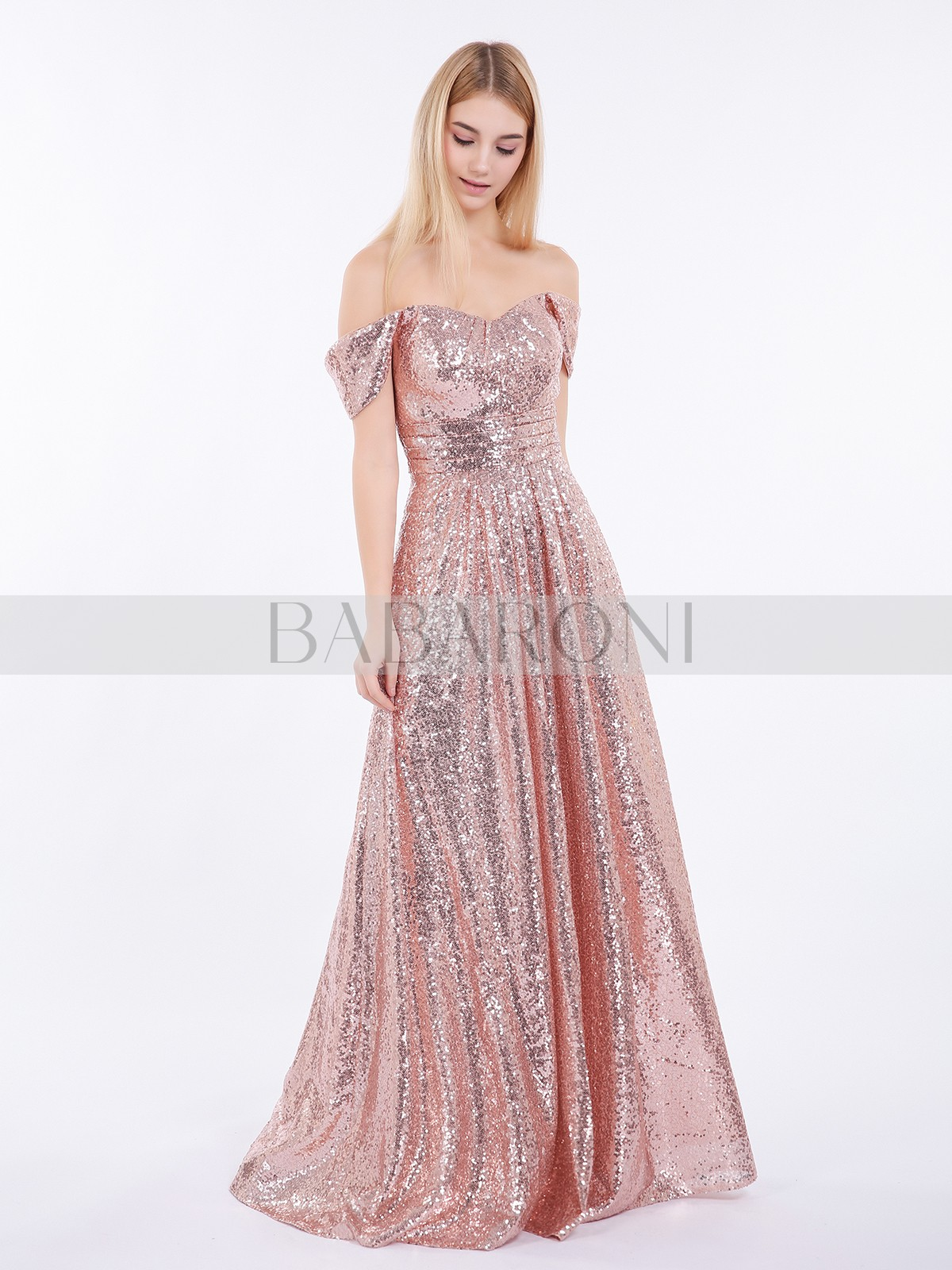 648bb5446ae A-line Sequin Rose Gold Zipper Pleated Floor-length Off-the-shoulder.  Loading zoom
