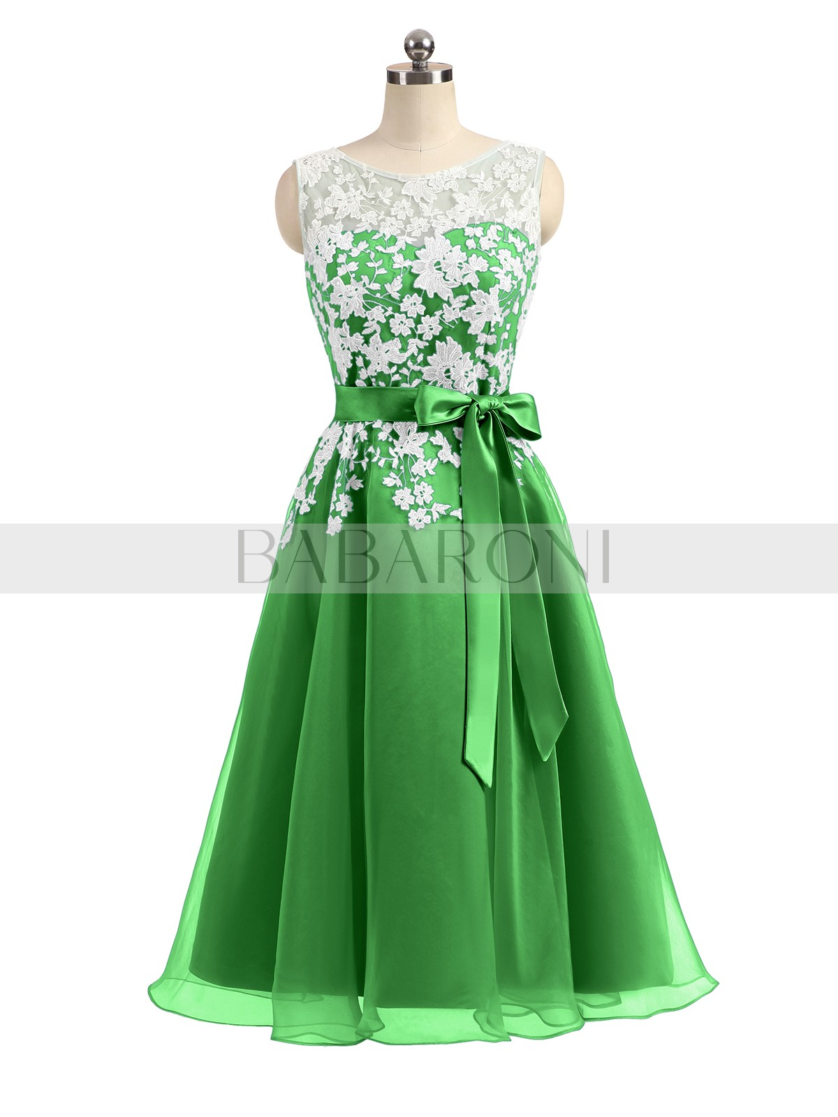 dbb82af67dc Green Anastasia Illusion Neck Oranza with Ivory Lace Appliqued ...