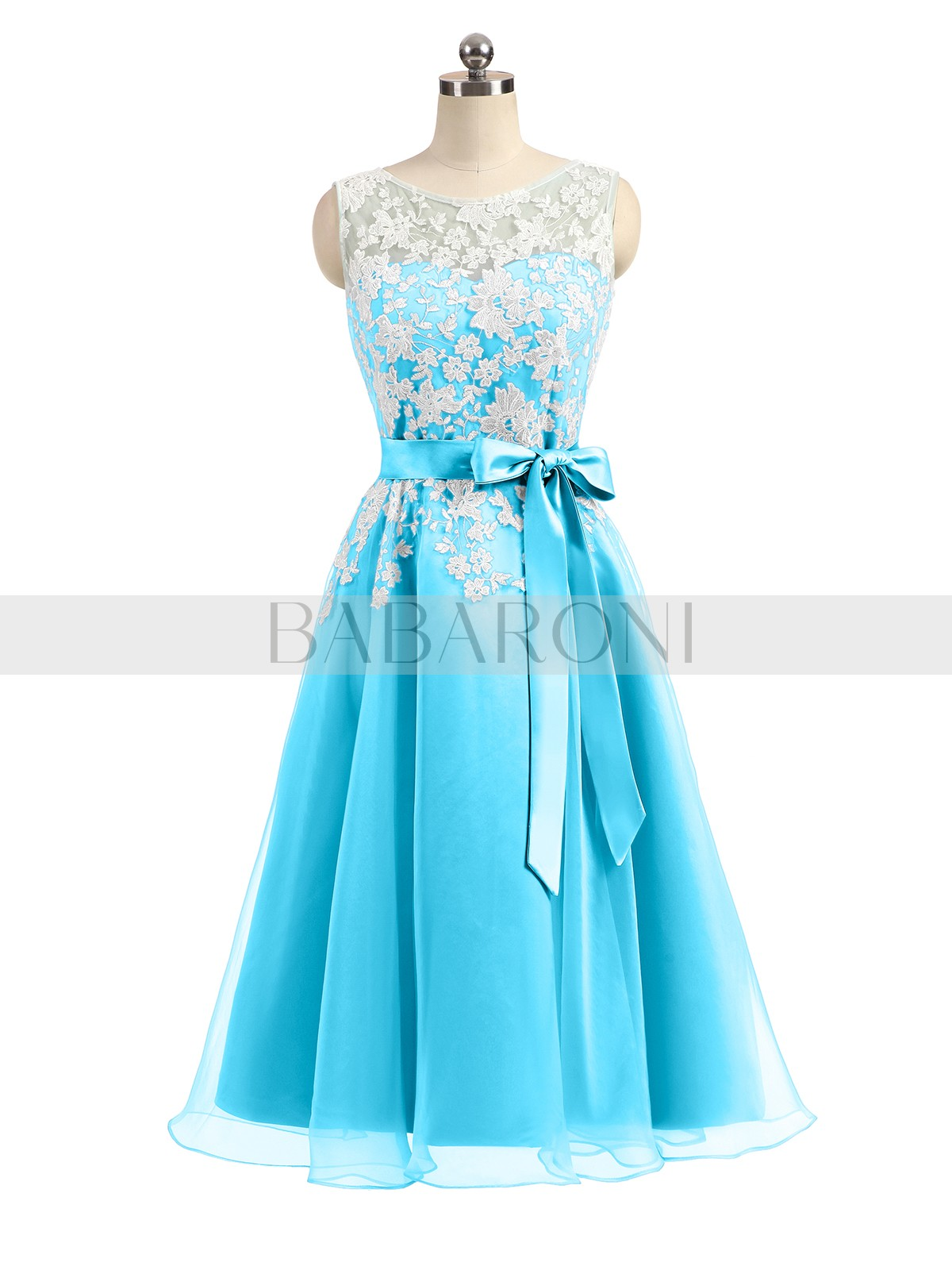 A Line Organza Pool Zipper Liqued Bow Tea Length Scoop Sleeveless Prom Dresses Loading Zoom