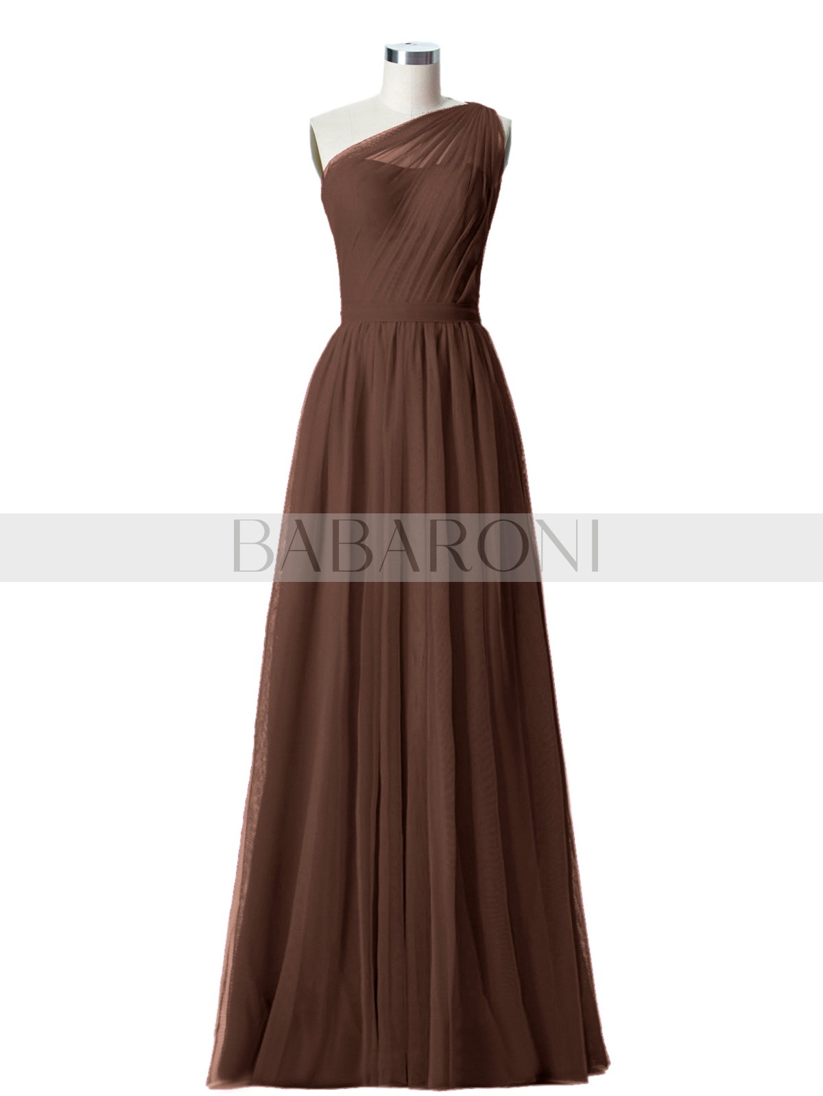 bc187b8bbc8 Chocolate Angelina One Shoulder Mesh Wedding Party Bridesmaid Gown ...