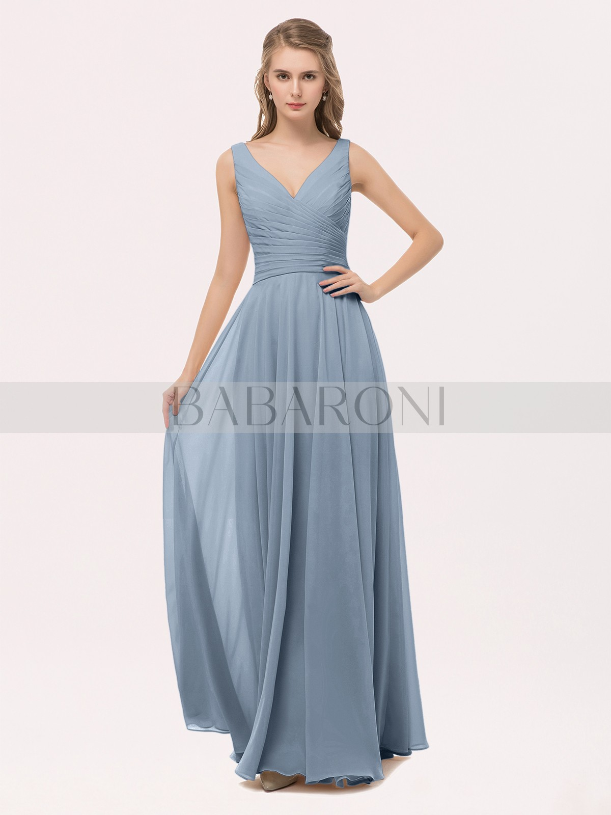 d41aa41856 Dusty Blue Cassiopeia V Neck Long Chiffon Dress with Bow
