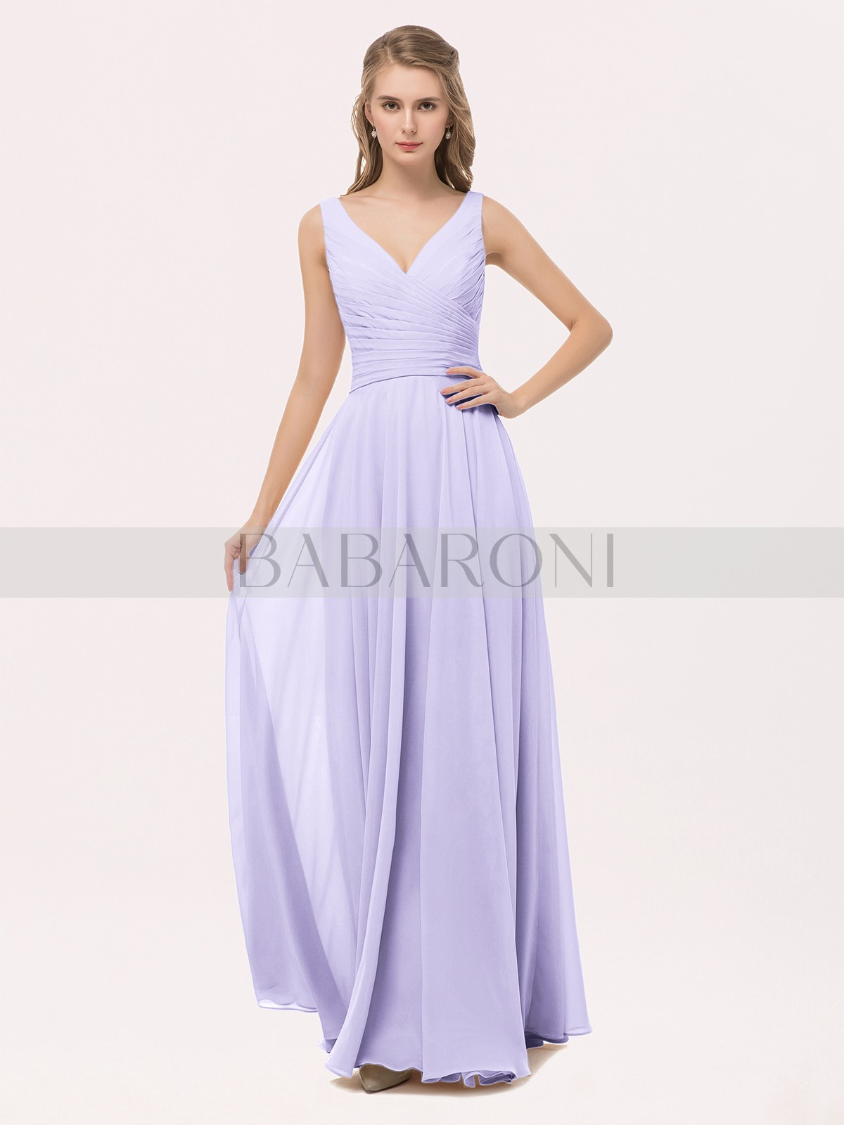 354491a60 A-line Chiffon Peach Zipper Bow, Sash, Pleated Floor-length V-. Loading zoom