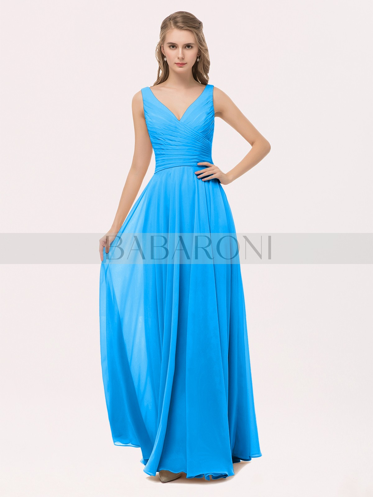 Home Bridesmaid Dresses Babaroni Ciopeia A Line Chiffon Peach Zipper Bow Sash Pleated Floor Length V Loading Zoom