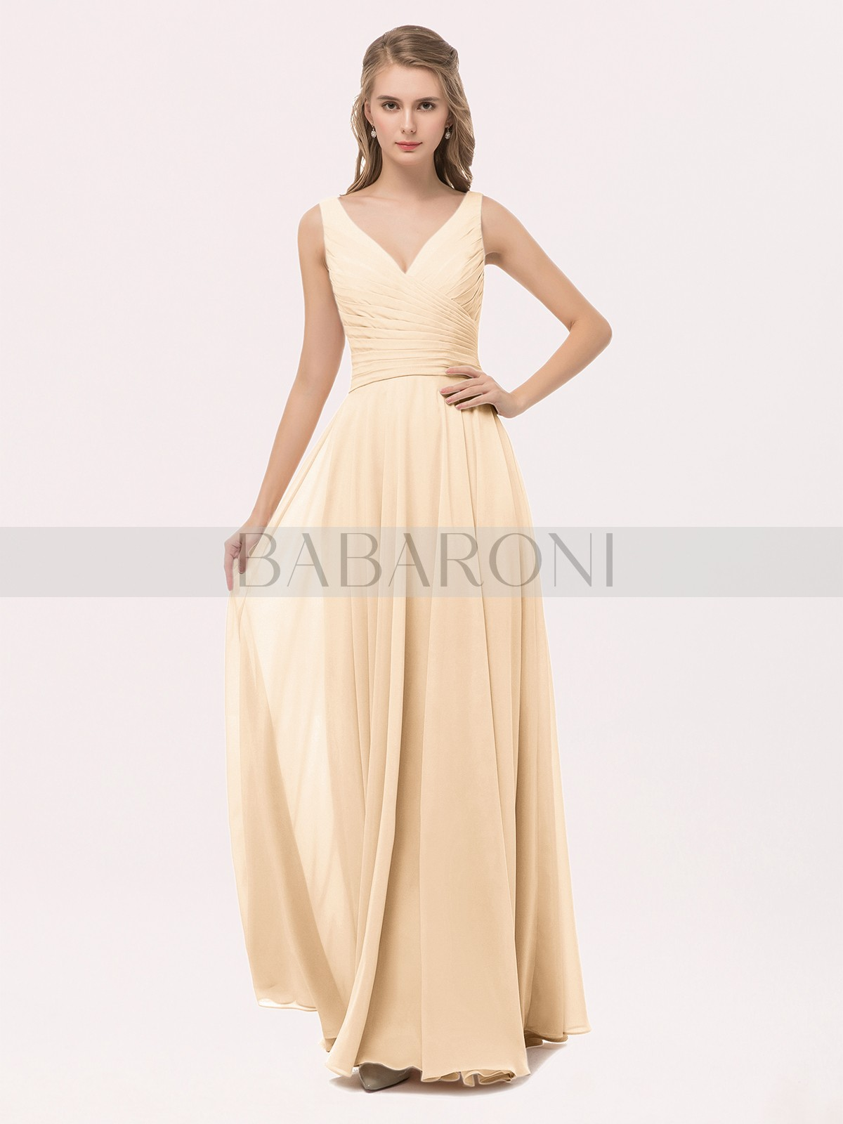 afd888f4d32 Home · Prom Dresses · Best Sellers  Babaroni Cassiopeia. A-line Chiffon  Peach Zipper Bow