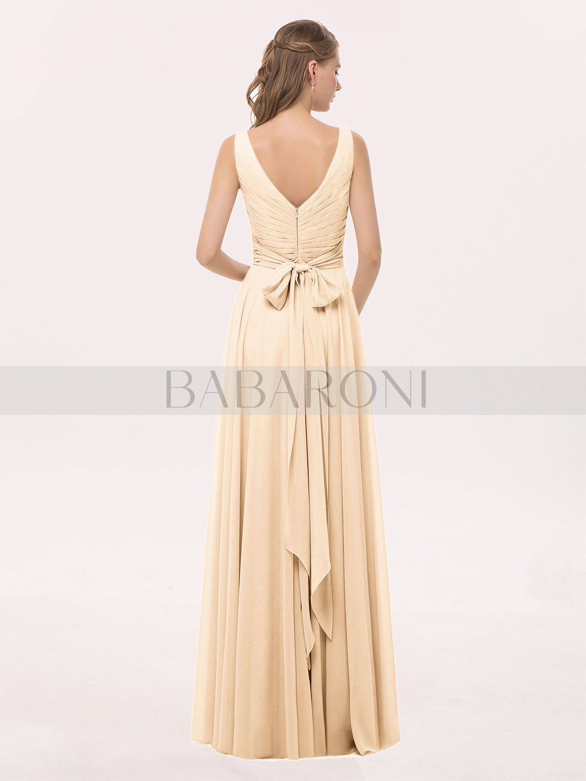 69021a3c766 Cassiopeia V Neck Long Chiffon Dress with Bow