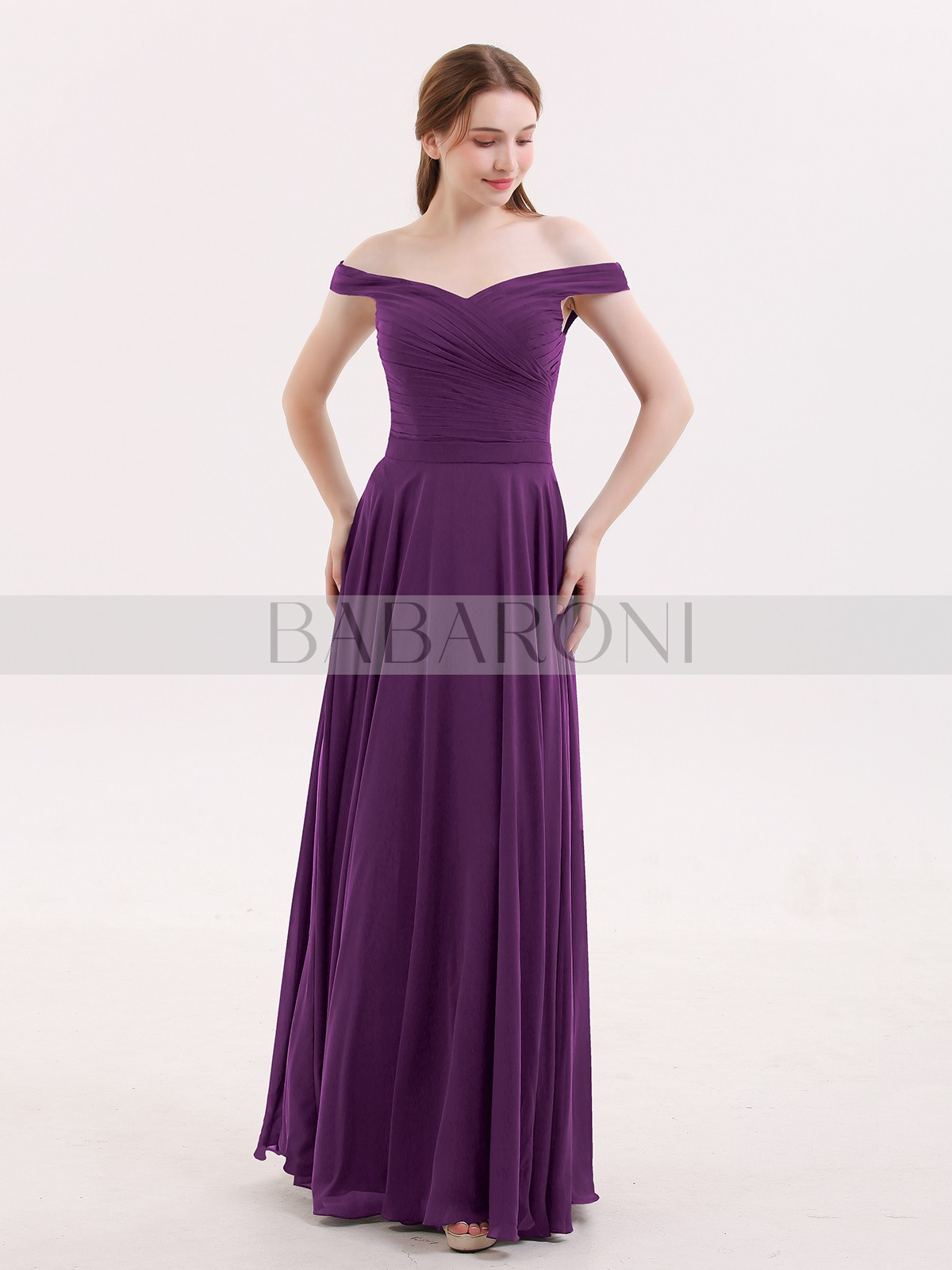 e89e389120b1 A-line Chiffon Grape Zipper Ruched, Pleated Floor-length Off-the-. Loading  zoom