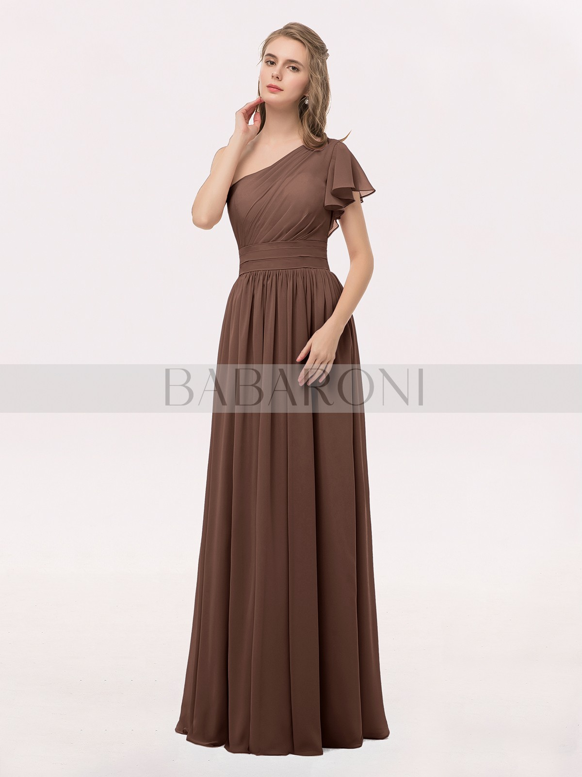 0c33b14a5d6c Chocolate Clementine One Shoulder Flutter Sleeve Chiffon Gown