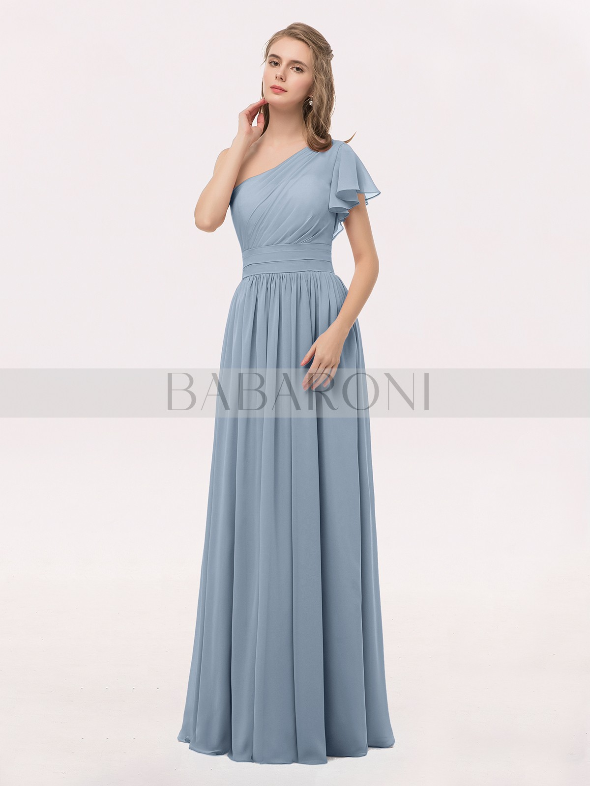 806312b04b6a A-line Chiffon Lilac Zipper Ruffle, Ruched, Pleated Floor-length One  Shoulder. Loading zoom