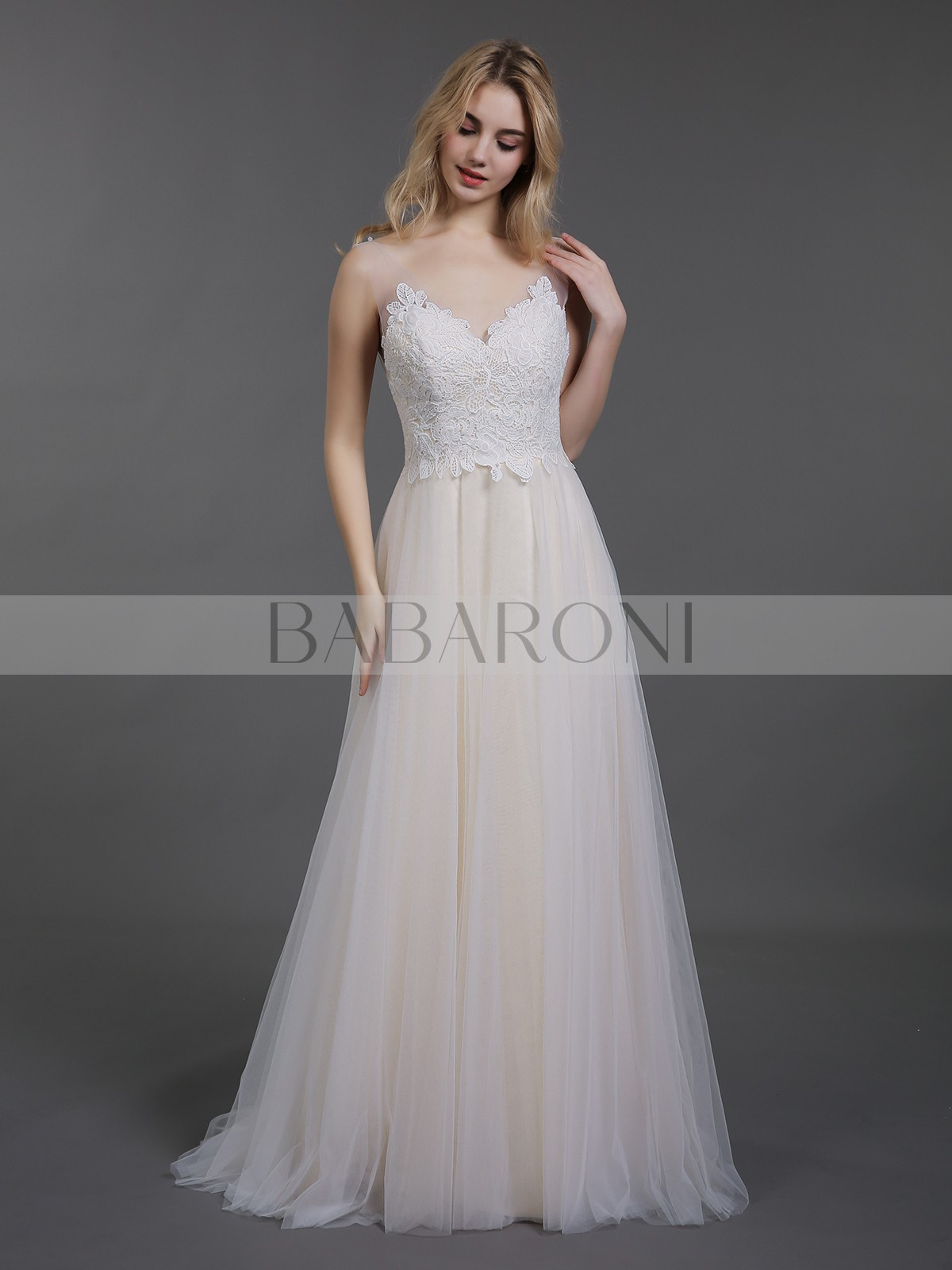 f890a53d847 A-line Tulle Champagne Backless Appliqued Sweep/Brush Train V-neck  Sleeveless Simple. Loading zoom