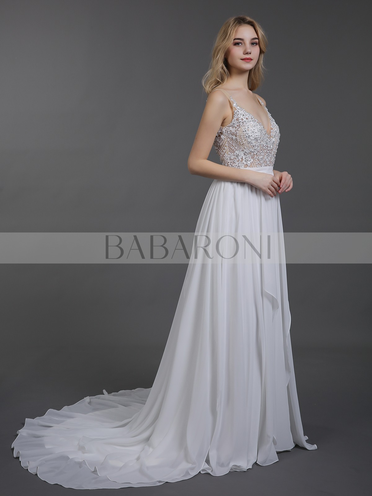 93098cbf6cf Dale Chiffon with Beaded V-neck Wedding Dress