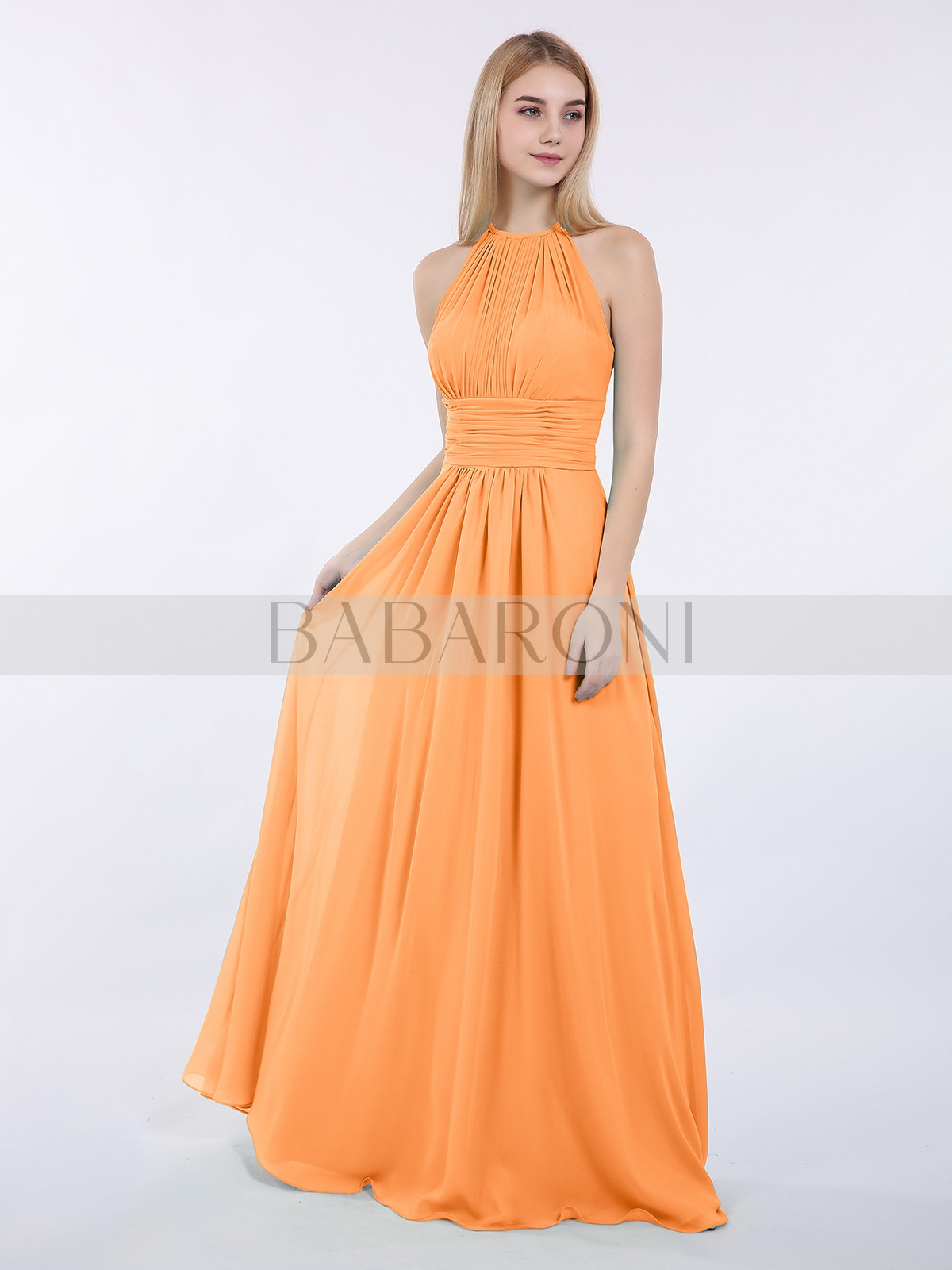 f8248589da9 Orange Doris Halter Chiffon Maxi Dress of Bridesmaid