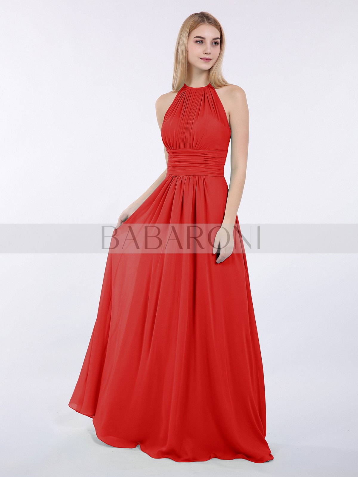 9ef226bca942 A-line Chiffon Wisteria Zipper Ruched, Pleated Floor-length Halter  Sleeveless New Arrivals. Loading zoom