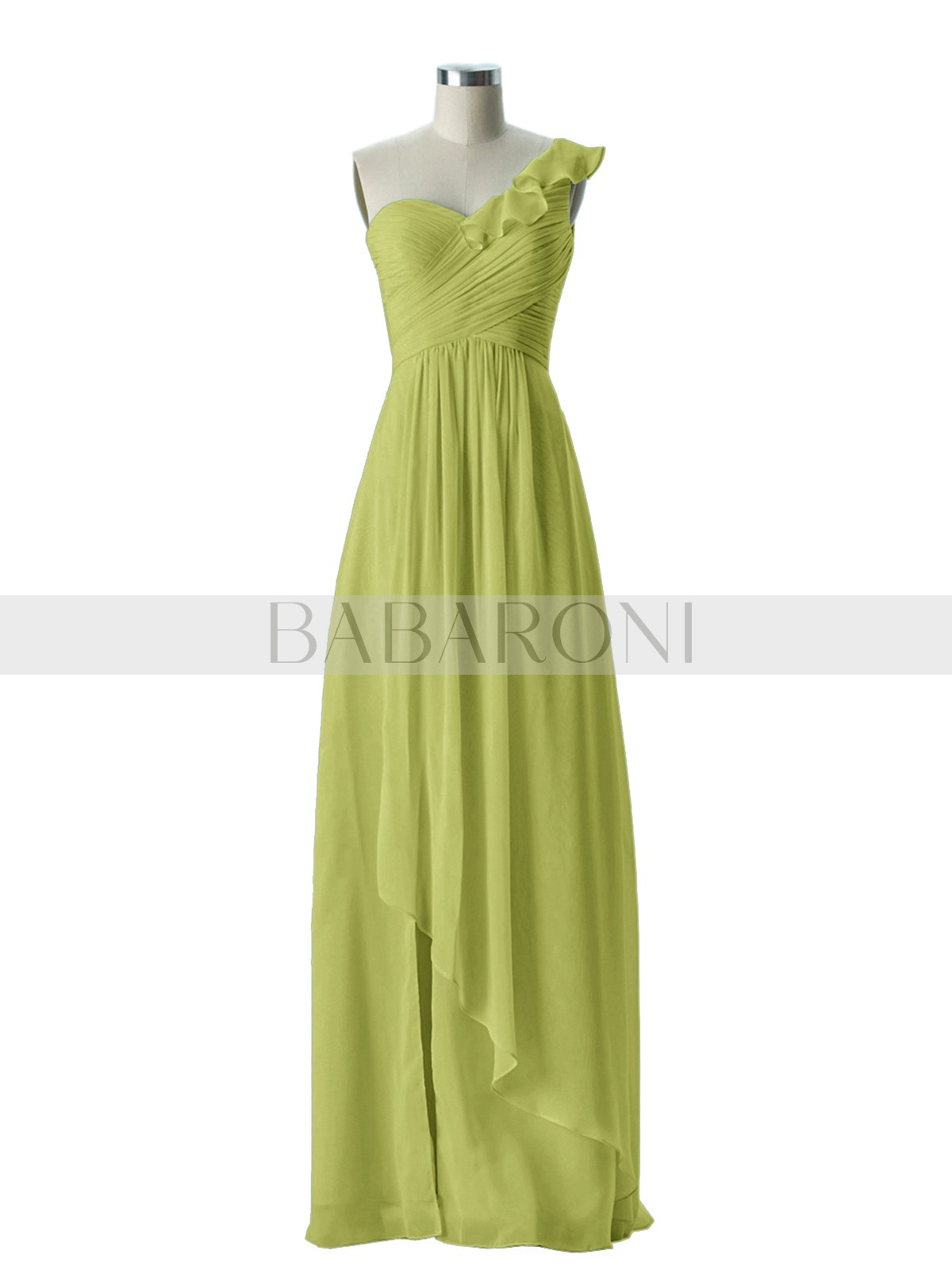 Home Bridesmaid Dresses Babaroni Eden A Line Chiffon Tangerine Zipper Ruffle Ruched Pleated Floor Length One Shoulder Loading Zoom