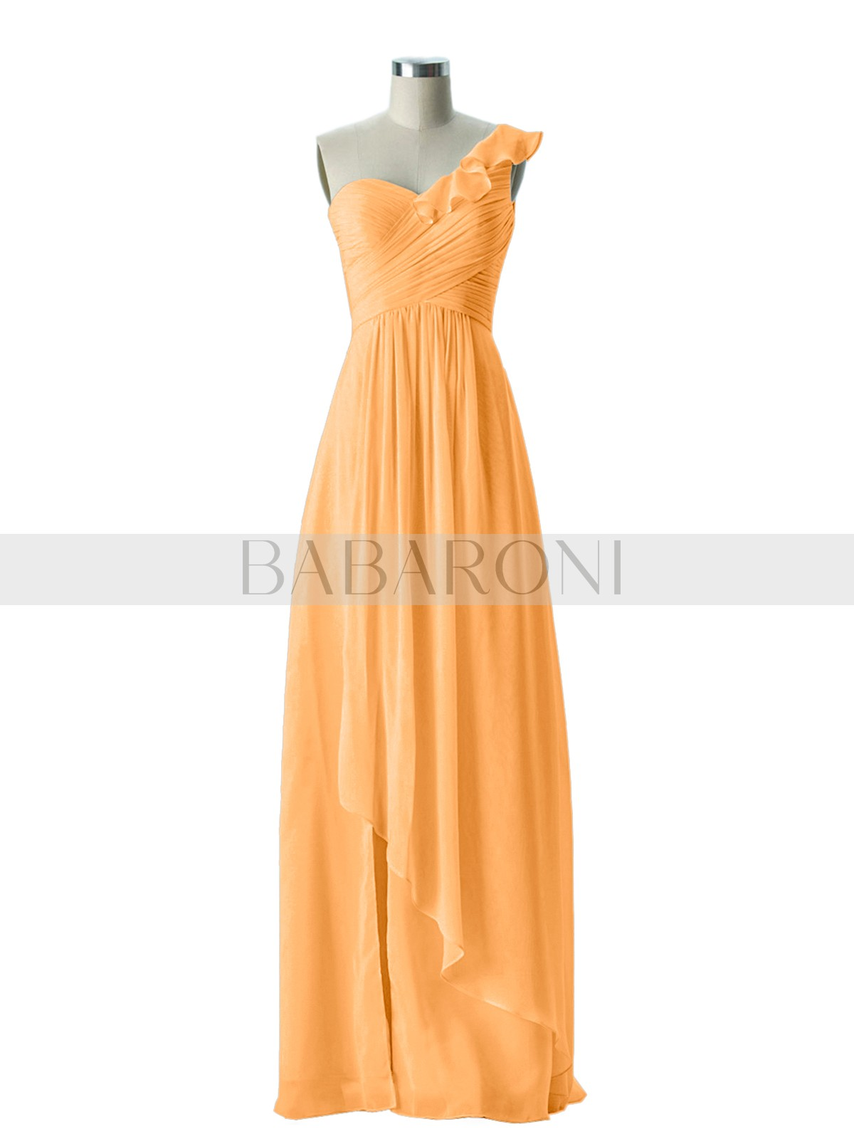 Chiffon Bridesmaid Dresses Babaroni Eden A Line Tangerine Zipper Ruffle Ruched Pleated Floor Length One Shoulder Loading Zoom