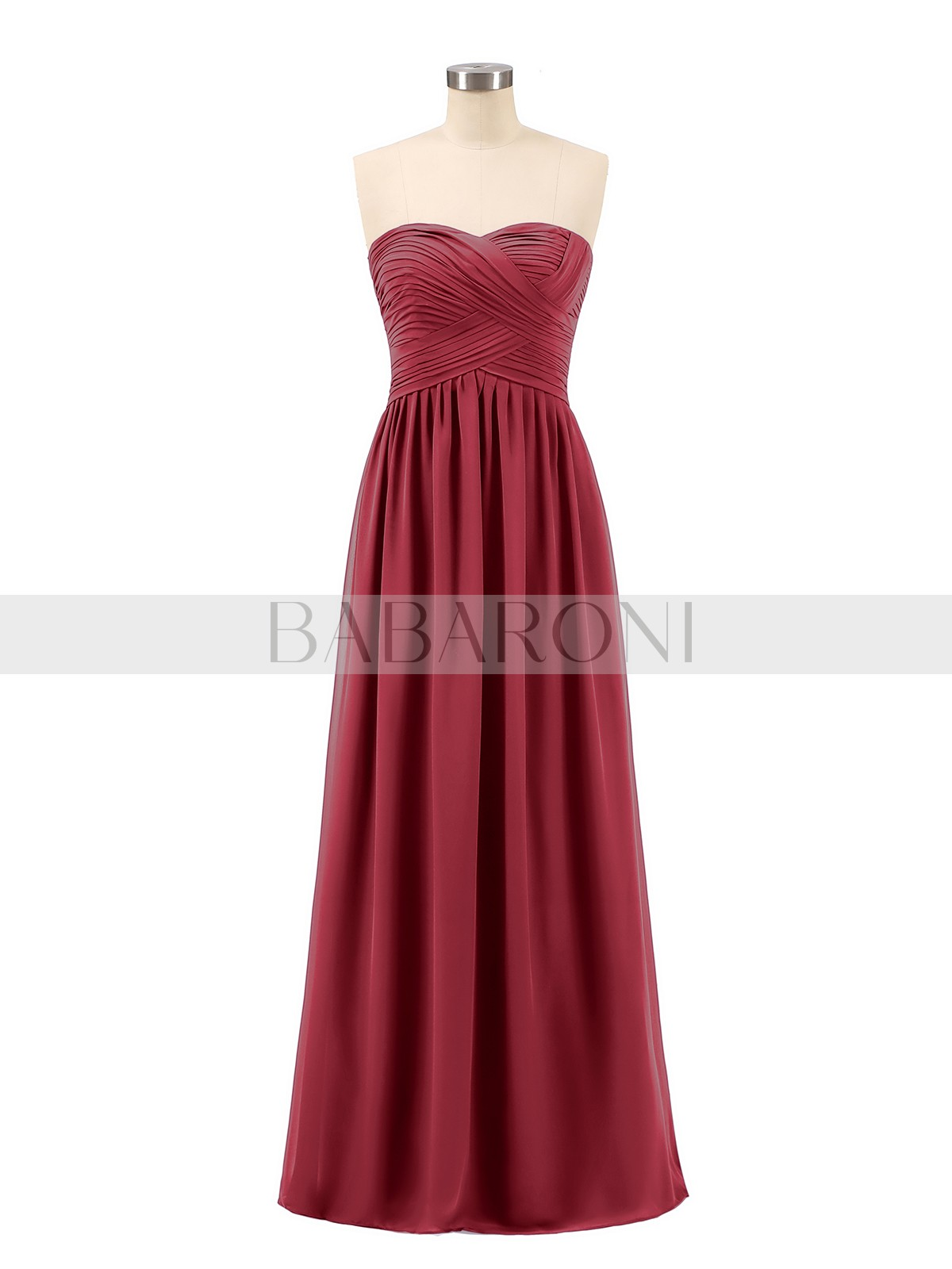 3d9945df62a20 A-line Chiffon Burgundy Zipper Ruched, Pleated Floor-length Sweetheart  Sleeveless Long Bridesmaid. Loading zoom