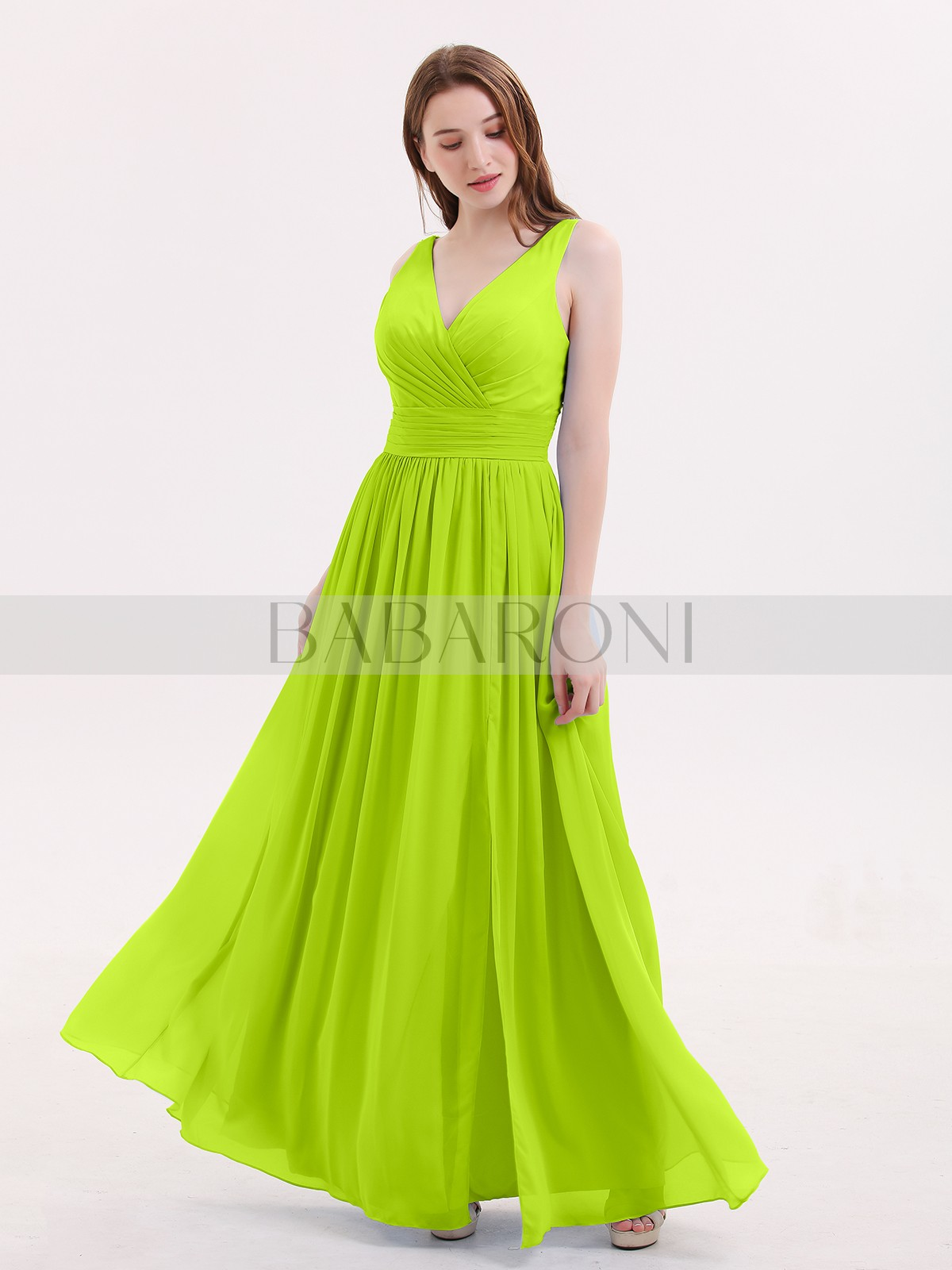 40102559cca68 A-line Chiffon Sky Blue Zipper Beaded, Ruched, Pleated Floor-length V.  Loading zoom