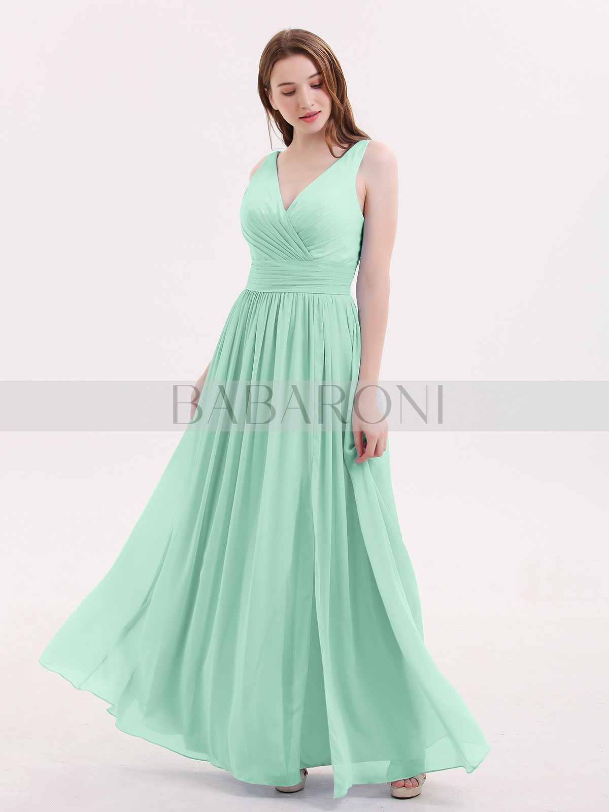 663f761637e1 Mint Green Emerson Double Beaded Strap Chiffon Dress with V Neck ...