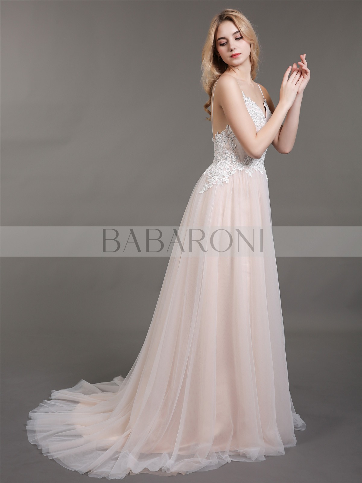 35e5a041ad8df Esther Spaghetti Strap V-neck Wedding Dress with Train | BABARONI