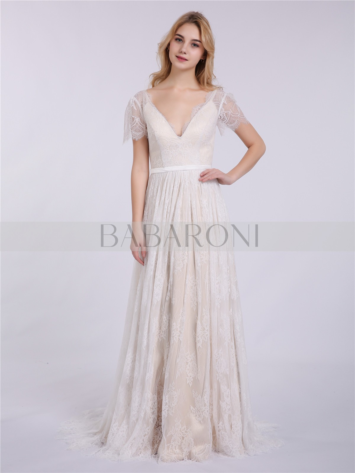 3601c0029bb Home · Wedding Dresses · New Arrivals  Babaroni Hulda. A-line Lace  Champagne Zipper Sash Sweep Brush Train V-neck Short New. Loading zoom