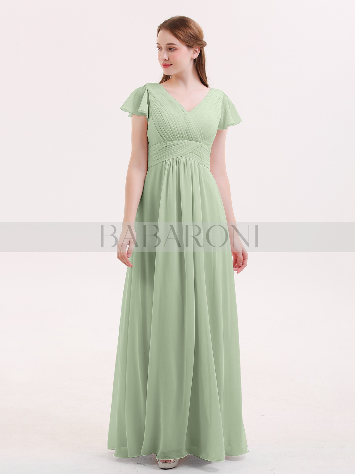 b9caeda498b24 ... Sleeves Bridesmaid Dresses; Babaroni Jacqueline. A-line Chiffon Dusty  Sage Zipper Ruched, Pleated Floor-length V-neck. Loading zoom