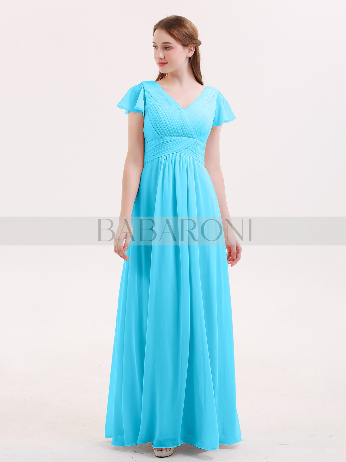 Home Bridesmaid Dresses Babaroni Jacqueline A Line Chiffon Dusty Sage Zipper Ruched Pleated Floor Length V Neck Loading Zoom