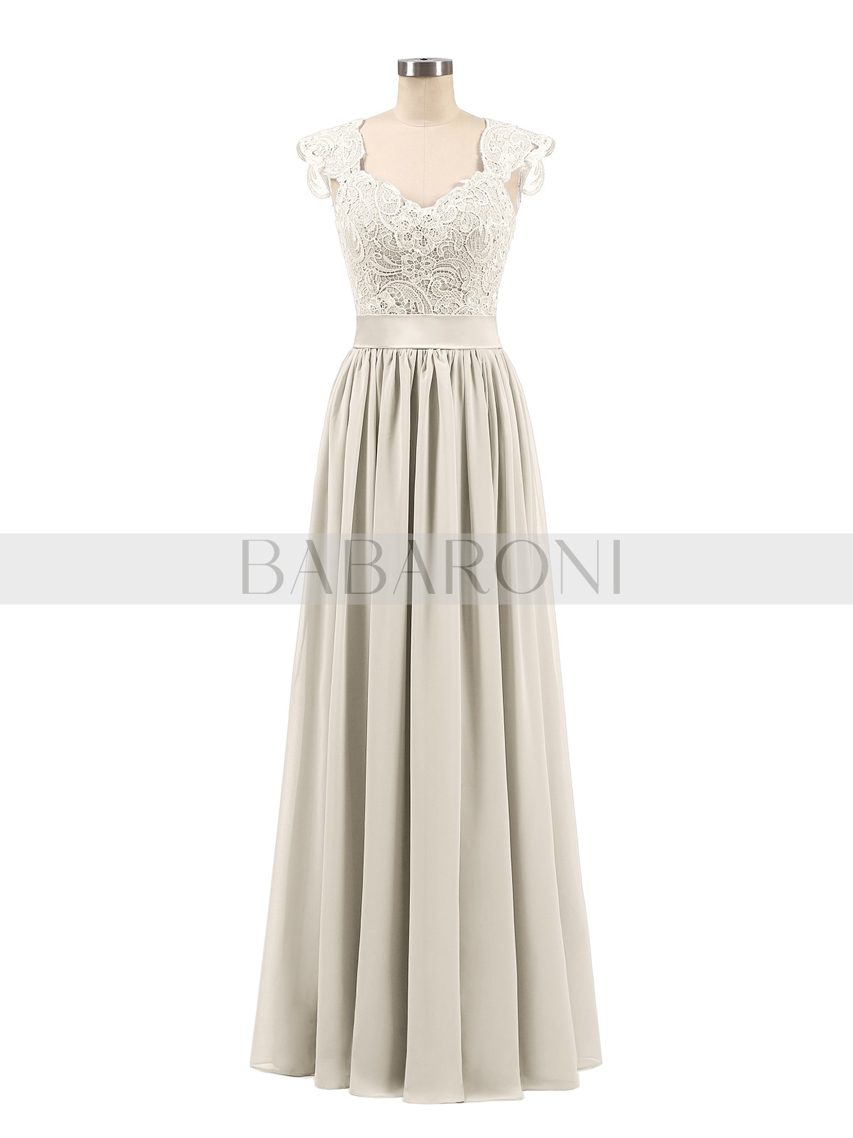 Taupe Jennifer Long Chiffon Dress with Lace Appliqued Bodice  659c3f1e29