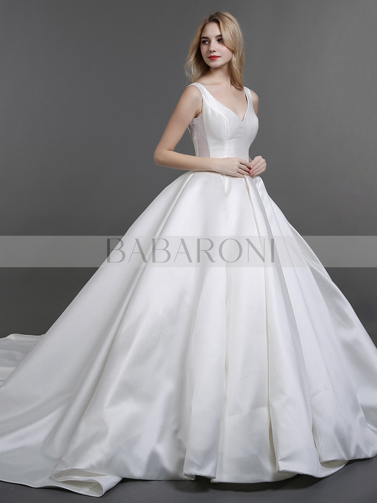 a4f4436cbcc Ball Gown Satin Ivory Lace-up Pocket Chapel train V-neck Sleeveless Simple  Wedding. Loading zoom