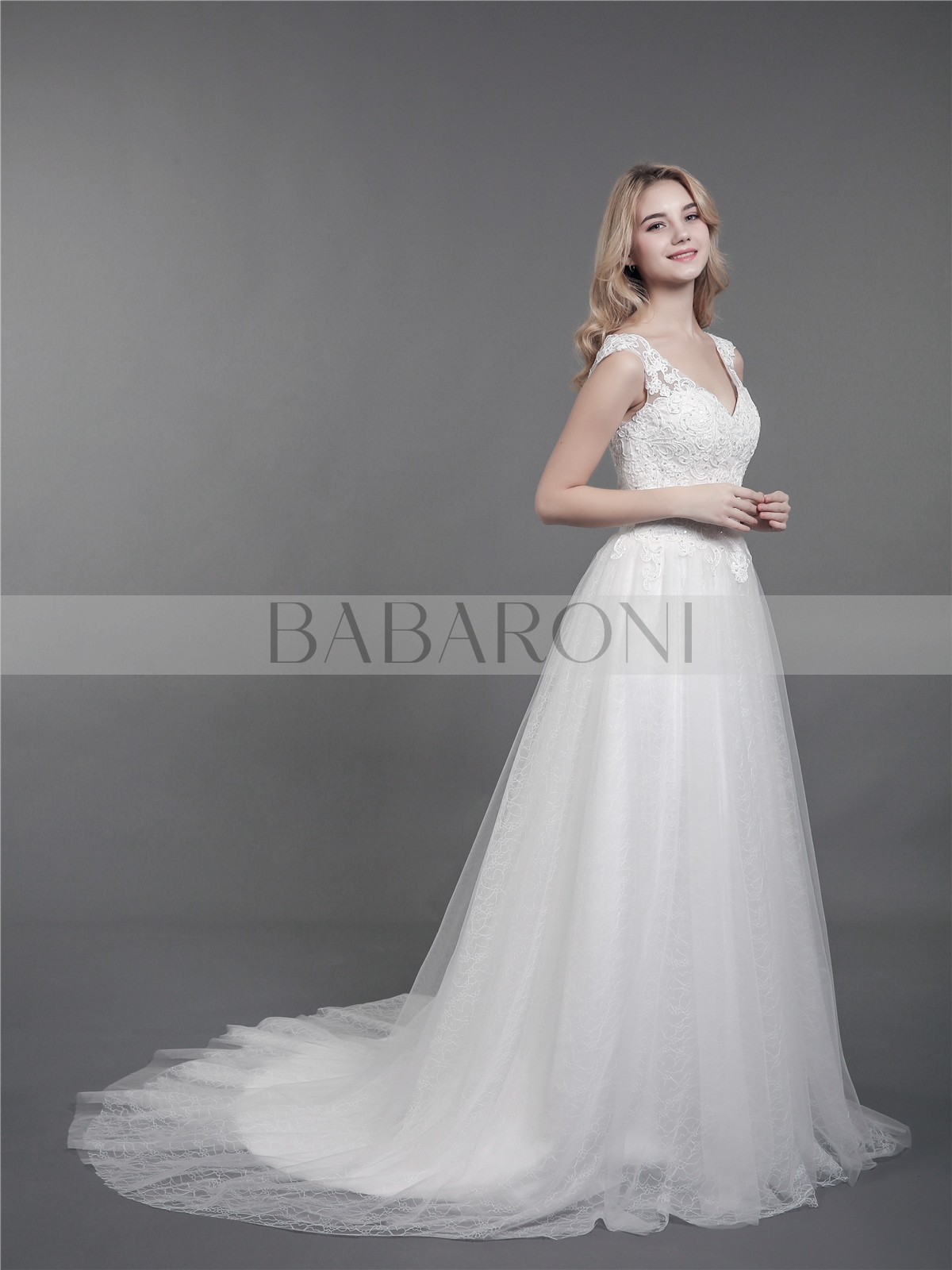 2e7abf1bdb2 Ivory Kalila Shoulder Strap Lace Wedding Gown with Train