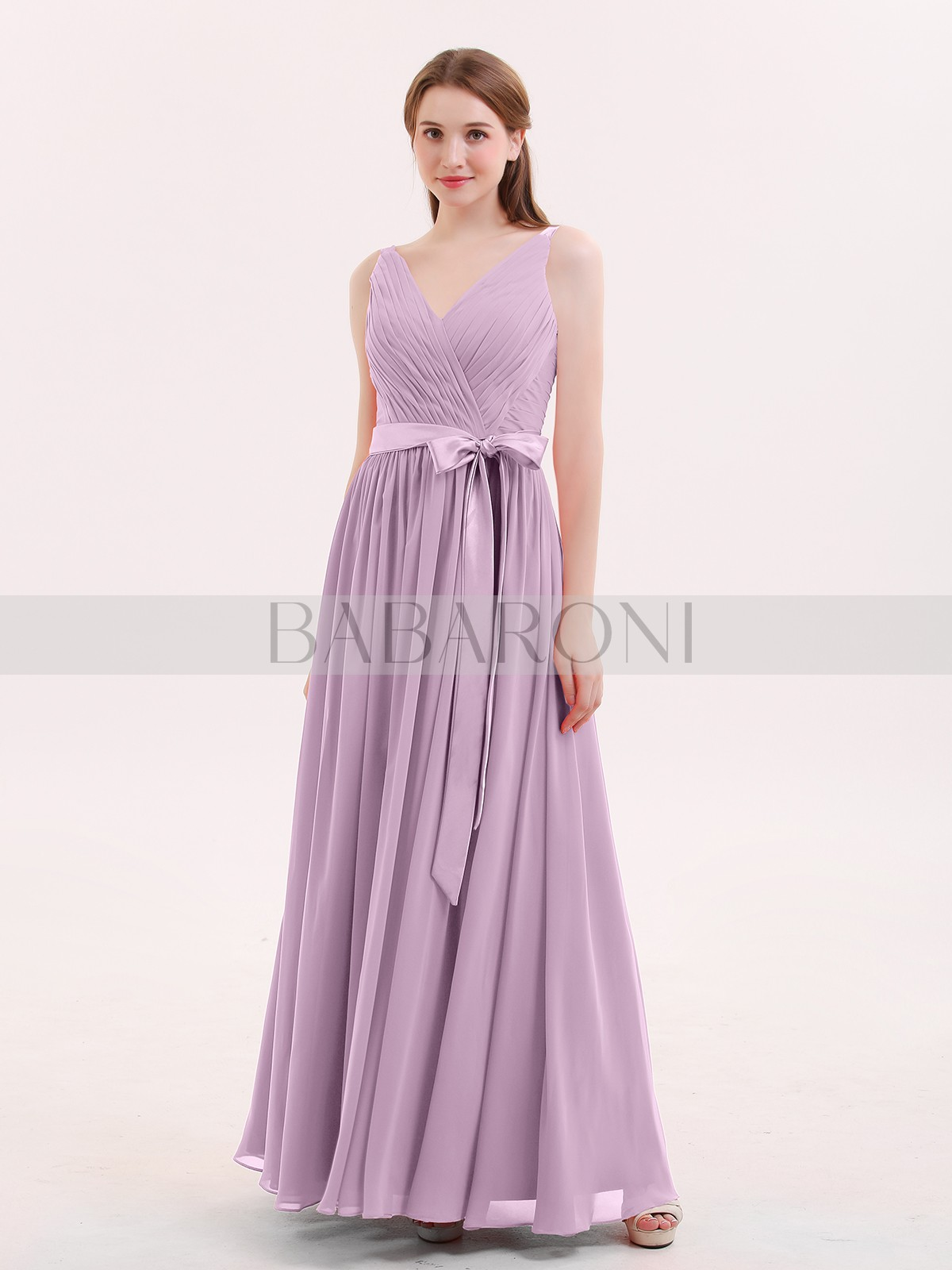 f96fc024192a1 A-line Chiffon Red Zipper Sashes/Ribbons, Pleated Floor-length V-. Loading  zoom