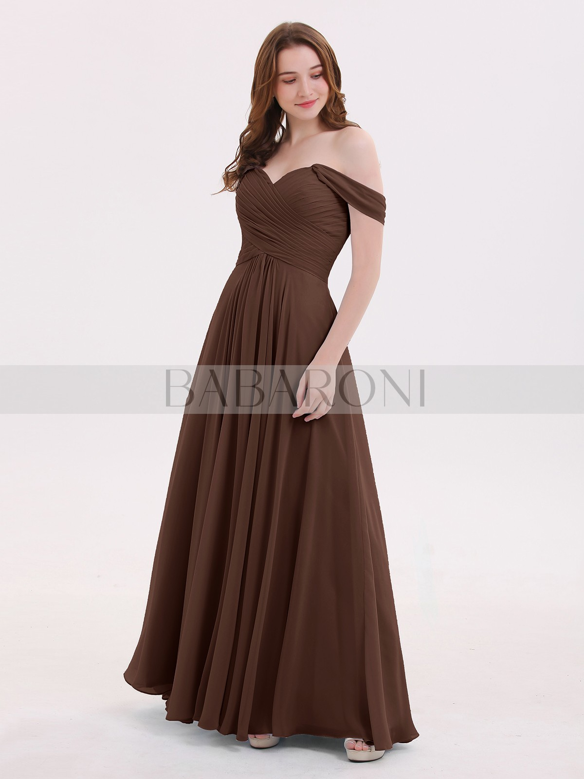 07dcc751d0a4 Chocolate Lindsay Off the Shoulder Empire Bridesmaid Dresses