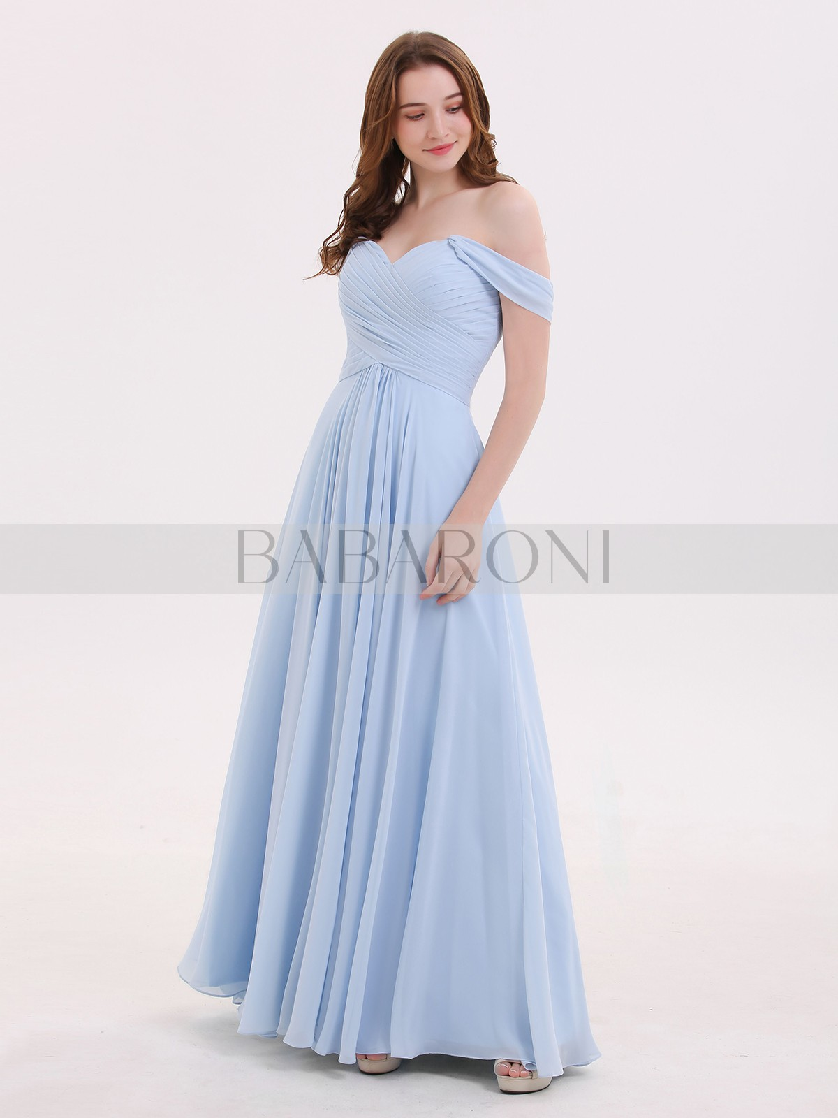 2967a590dbbc Empire Chiffon Sky Blue Zipper Ruched, Pleated Floor-length Off-the-shoulder.  Loading zoom