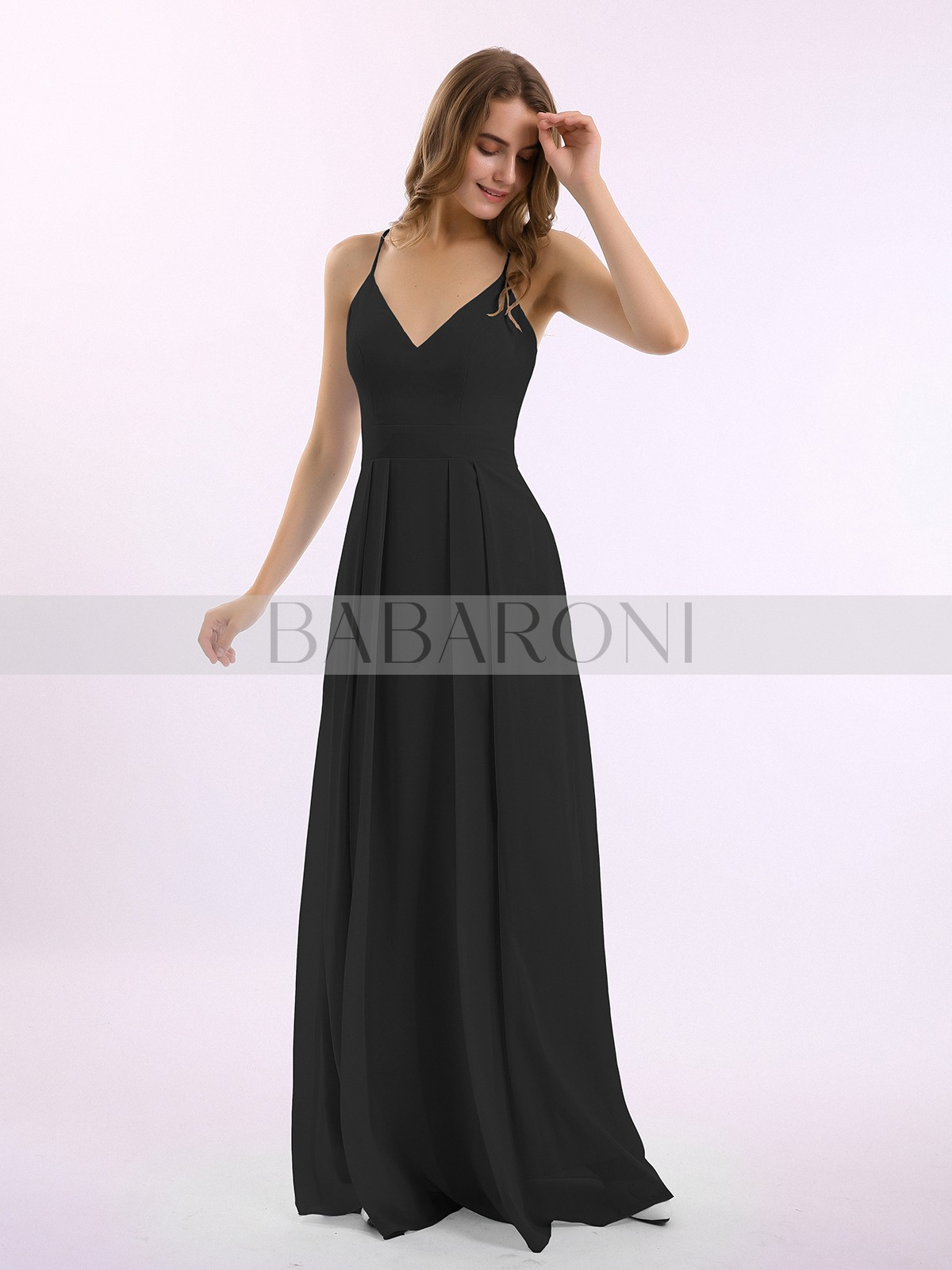 Spaghetti Straps V Neck A Line Chiffon Bridesmaid Dresses Long Formal Party Gowns