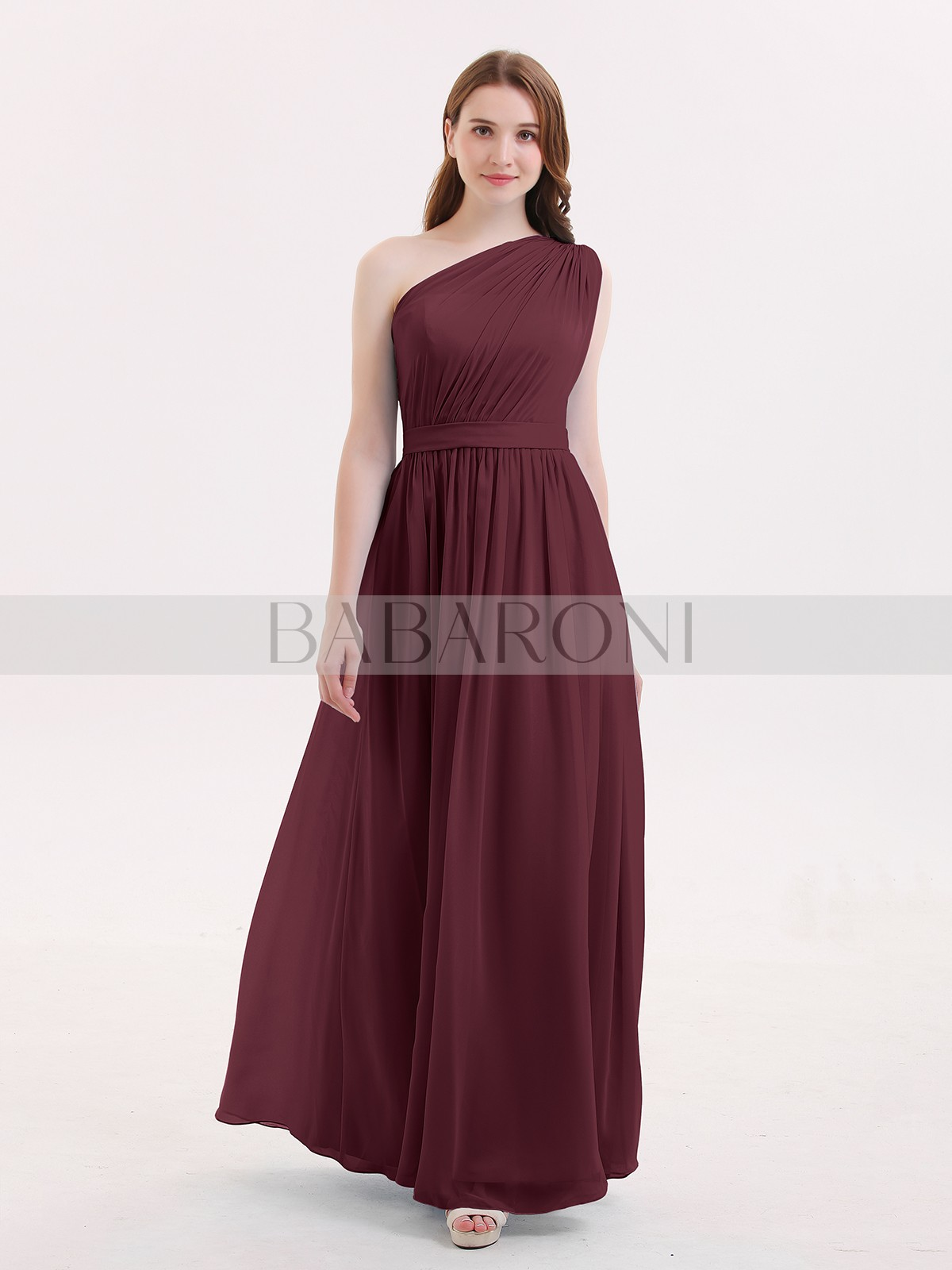 79000c2bc83 Home · Bridesmaid Dresses  Babaroni Maggie. A-line Chiffon Dark Navy Zipper  Side Ruffle