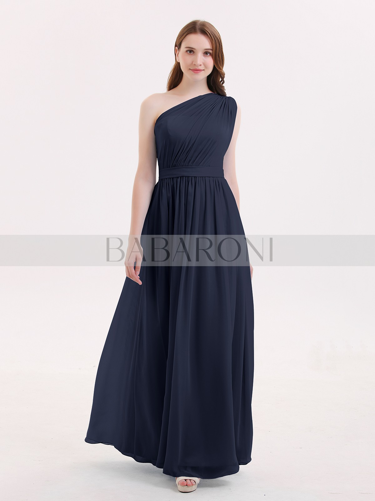 167deabf37425 ... Long Bridesmaid Dresses; Babaroni Maggie. A-line Chiffon Dark Navy  Zipper Side Ruffle, Pleated Floor-length One Shoulder. Loading zoom