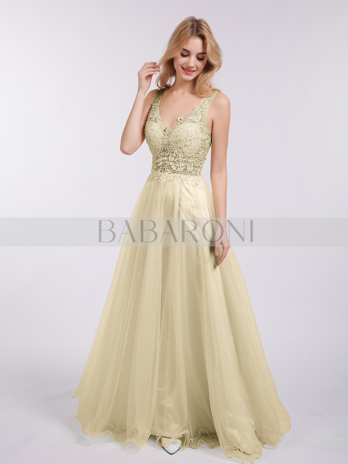 26f1d9aba872 A-line Tulle Champagne Backless Floor-length V-neck Sleeveless New  Arrivals. Loading zoom