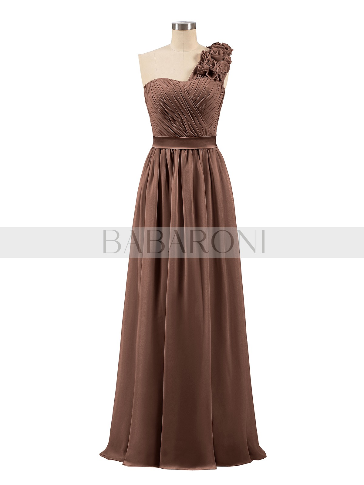 ecb0fb586fc7 Chocolate Mirabelle One Shoulder Chiffon Dress with Flowers Strap ...