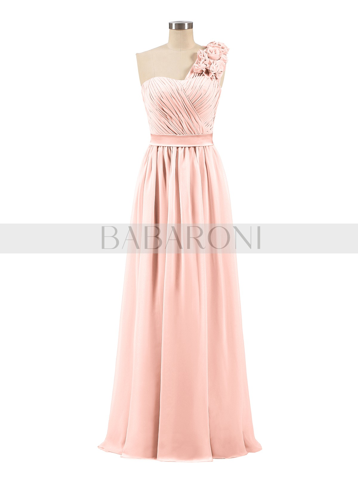 18ca9cba92 Coral Mirabelle One Shoulder Chiffon Dress with Flowers Strap