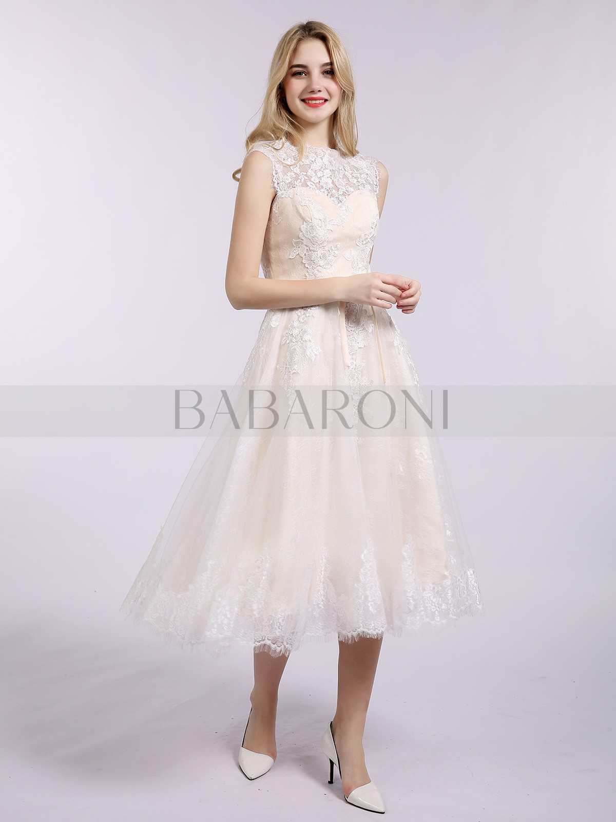 c8af5c580b8 A-line Lace Champagne Zipper Appliqued Tea-length Bateau Sleeveless Beach Wedding  Dresses. Loading zoom