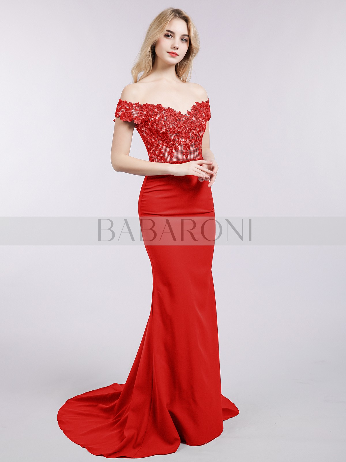 9c091020 Trumpet/Mermaid Satin Red Zipper Appliqued, Beaded Sweep/Brush Train Off-the.  Loading zoom